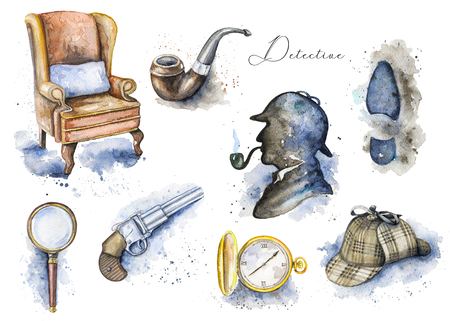Vintage set with hat, smoking pipe, pistol, footprint, chair, magnifier, pocket watch and silhouette on white background. Watercolor hand drawn illustration