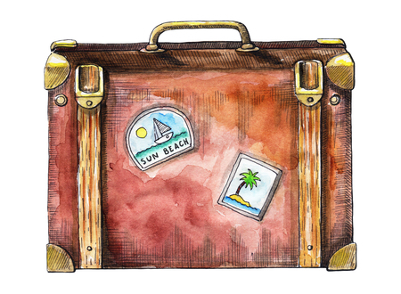 Vintage travel suitcase isolated on white background. Watercolor hand drawn illustration