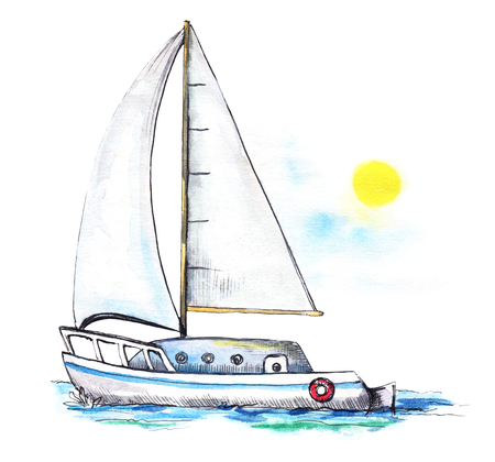 Yacht in the sea in front of the sky and the sun. Watercolor hand drawn illustration