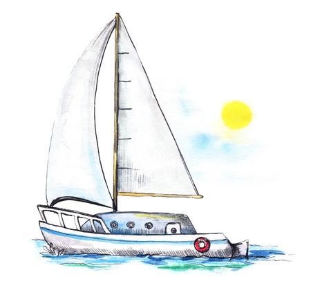 Yate en el mar frente al cielo y al sol. Ilustración de dibujado a mano de acuarela