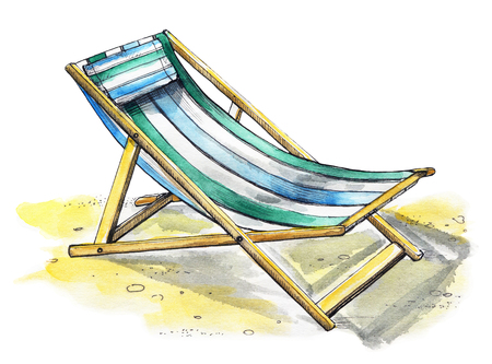 Beach lounger on the sand. Watercolor hand drawn illustration