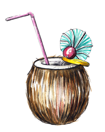 Ð¡ocktail in coconut isolated on white background. Watercolor hand drawn illustration
