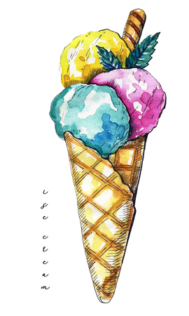 Three balls of ice cream in a waffle horn isolated on white background. Watercolor hand drawn illustration