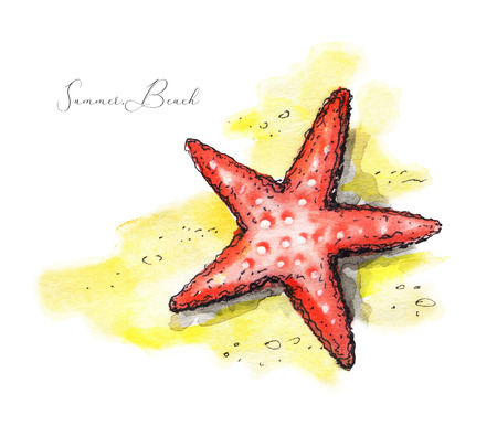 Starfish on the beach. Watercolor hand drawn illustration Stock Photo