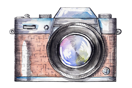 Vintage brown camera isolated on white background. Watercolor hand drawn illustration