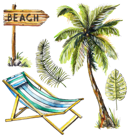Set with wooden pointer, branches, palm tree and beach lounger on white background. Watercolor hand drawn illustration Reklamní fotografie