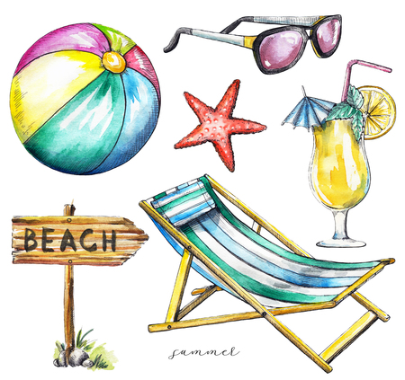 Set with wooden pointer, beach ball, starfish, sunglasses, cocktail and beach lounger on white background. Watercolor hand drawn illustration