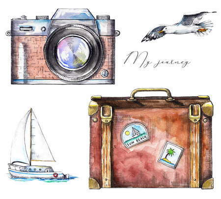 Set with camera, seagull, yacht and suitcase on white background. Watercolor hand drawn illustration
