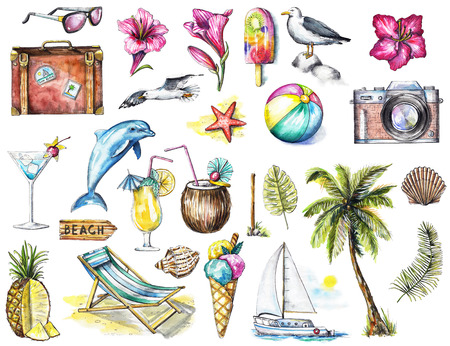 Set with camera, seagulls, yacht, sunglasses, cocktail, ice cream, pineapple, dolphin, signpost, seashells, starfish, flowers, ball, palm, twigs  and suitcase on white background. Watercolor hand drawn illustration Foto de archivo
