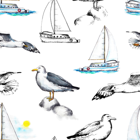 Seamless pattern with two seagulls and a yacht on white background. Watercolor hand drawn illustration