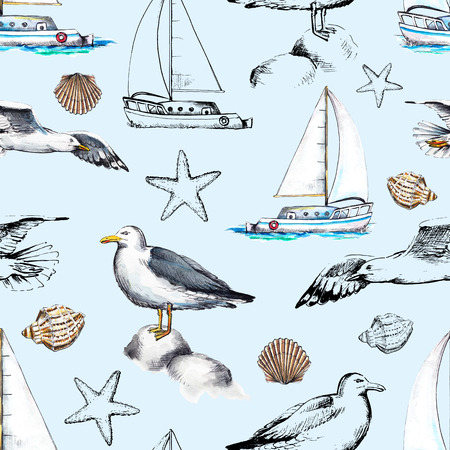 Seamless pattern with seagulls, yacht, seashells and their black silhouettes on blue background. Watercolor hand drawn illustration