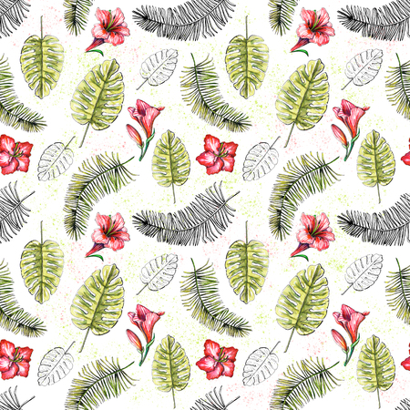 Seamless background pattern with pink flowers, palm branches and their black silhouettes on white background. Watercolor hand drawn illustration