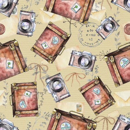 Seamless vintage pattern with suitcases, photo cameras, letters, bows, branches and stamps on beige background. Watercolor hand drawn illustration Stockfoto