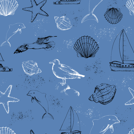 Seamless pattern with seagulls, yacht, seashells black and white silhouettes on blue background. Graphic hand drawn illustration