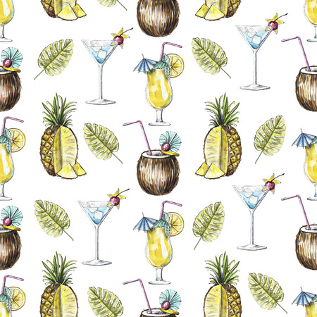 Seamless pattern with cocktails, pineapple and palm branches on white background. Watercolor hand drawn illustration