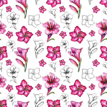 Seamless background pattern with pink and black silhouette flowers on white background. Watercolor hand drawn illustration