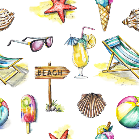 Seamless pattern with ice cream, sunbed, ball, sunglasses, cocktail, seashells, pointer and starfish on white background. Watercolor hand drawn illustration