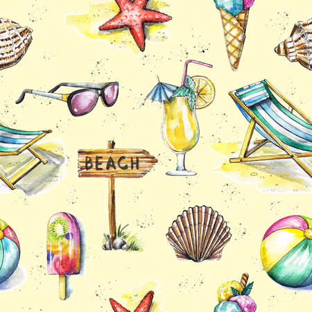 Seamless pattern with ice cream, sunbed, ball, sunglasses, cocktail, seashells, pointer and starfish on yellow background. Watercolor hand drawn illustration Stock Photo