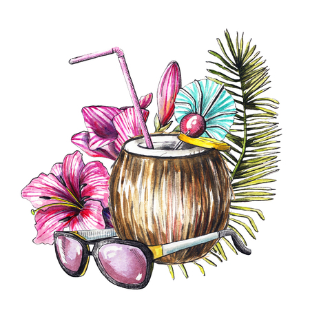 Composition with  branch, flowers, cocktail in coconut and sunglasses on white background. Watercolor hand drawn illustration 写真素材