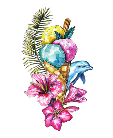 Composition with ice cream, branch of palm tree, flowers and dolphin on white background. Watercolor hand drawn illustration