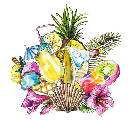 Composition with ice cream, branch of palm tree, flowers, pineapple, shell and cocktails on white background. Watercolor hand drawn illustration