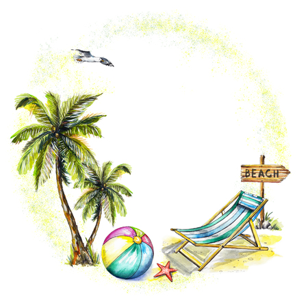 Round frame, composition with palms, lounger, ball, seagull, pointer and starfish on white background. Watercolor hand drawn illustration