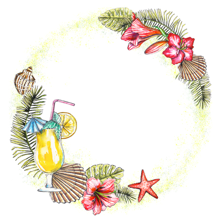 Round frame, composition with branches of a palm tree, flowers, seashells, cocktail and starfish on white background. Watercolor hand drawn illustration