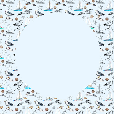 Round frame with seagulls, yacht, seashells and their black silhouettes on blue background. Watercolor hand drawn illustration Stock Photo