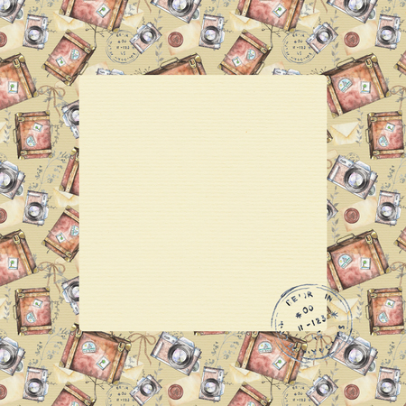 Square frame vintage pattern with suitcases, photo cameras, letters, bows, branches and stamps on beige background. Watercolor hand drawn illustration