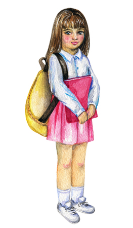 Schoolgirl with backpack and book isolated on white background. Watercolor hand painted illustration