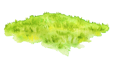 Green lawn isolated on white background. Watercolor hand painted illustration Stock Photo