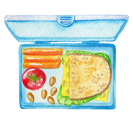 School lunch in a box isolated on white background. Watercolor hand painted illustration Stok Fotoğraf
