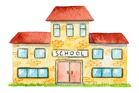 Cartoon school building isolated on white background. Watercolor hand painted illustration