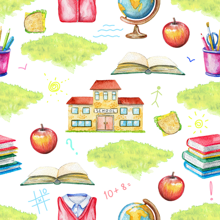 Seamless pattern with school, lunch, globe, grass, school uniform, inscriptions, stationery and books on white background. Watercolor hand drawn illustration