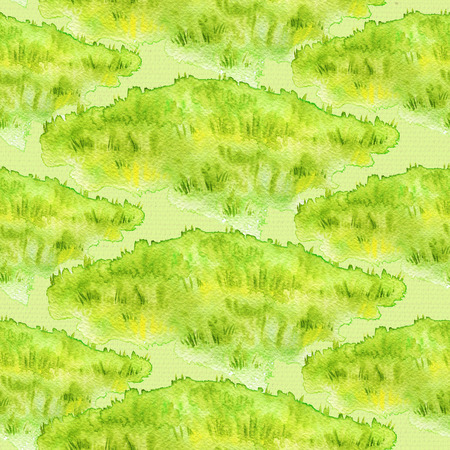 Seamless pattern with meadow grass on green background. Watercolor hand drawn illustration