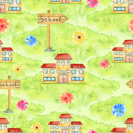Seamless pattern with school, grass, flovers and pointer on green background. Watercolor hand drawn illustration