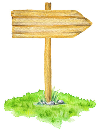 Wooden road sign in a meadow isolated on white background. Watercolor hand painted illustration Stock Photo
