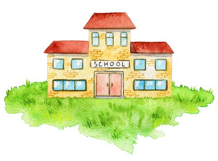 Edificio de la escuela de dibujos animados en el césped aislado sobre fondo blanco. Ilustración de acuarela pintada a mano