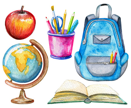 Set with globe, apple, stationery, schoolbag and book on white background. Watercolor hand drawn illustration Foto de archivo