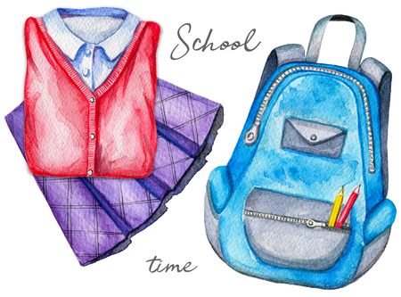 Set with schoolbag and school uniforms on white background. Watercolor hand drawn illustration