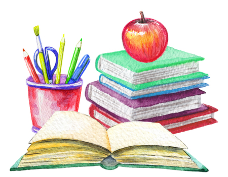 Composition with apple, stationery and books on white background. Watercolor hand drawn illustration