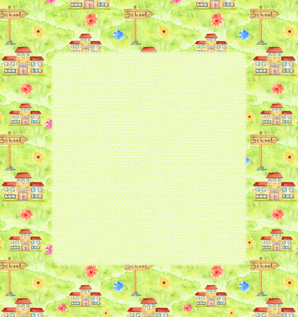 Rectangular frame with school, grass, flovers and pointer on green background. Watercolor hand drawn illustration