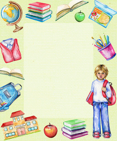 Rectangle frame with school, schoolboy, lunch, globe, school uniform, apple, schoolbag, stationery and books on green background. Watercolor hand drawn illustration