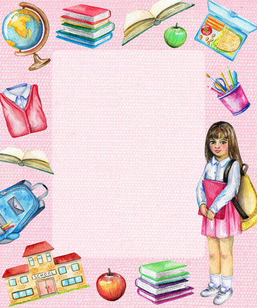 Rectangle frame with school, schoolgirl, lunch, globe, school uniform, apple, schoolbag, stationery and books on pink background. Watercolor hand drawn illustration