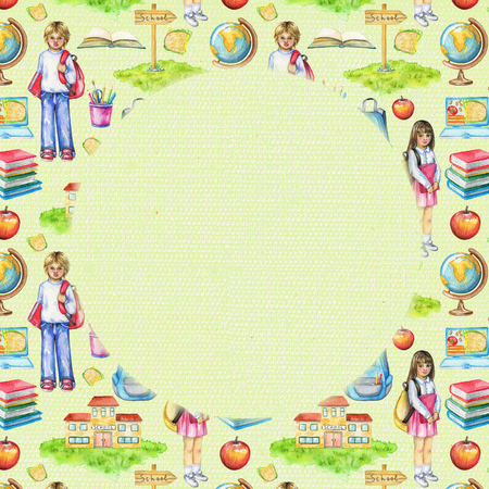 Round frame with school, schoolchildren, lunch, globe, grass, pointer, schoolbag, stationery and books on green background. Watercolor hand drawn illustration 版權商用圖片