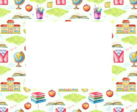 Rectangular frame with school, lunch, globe, grass, school uniform, inscriptions, stationery and books on white background. Watercolor hand drawn illustration