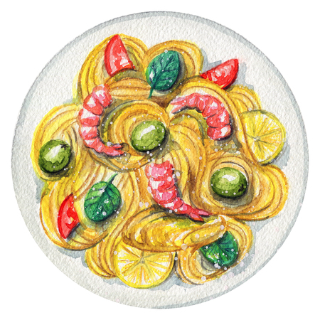 Delicious paste on a plate with shrimp, lemon, olives and tomatoes. Picture isolated at white background above view. Watercolor hand painted illustration
