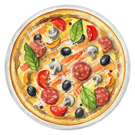 Delicious pizza on a plate with mushrooms, salami, olives and cherry tomatoes. Picture isolated at white background above view. Watercolor hand painted illustration Imagens - 104294563