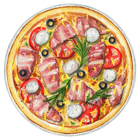 Delicious pizza on a plate with cheese mozzarella, bacon, basil, olives and tomatoes. Picture isolated at white background above view. Watercolor hand painted illustration