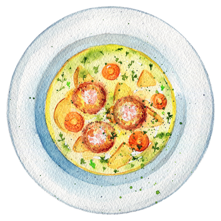 Delicious soup on a plate with meatballs, dill, potatoes and carrots. Picture isolated at white background above view. Watercolor hand painted illustration Stockfoto